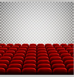 Wide empty movie theater auditorium with red vector