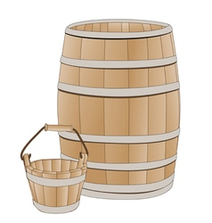 wooden barrel and bucket vector image vector image
