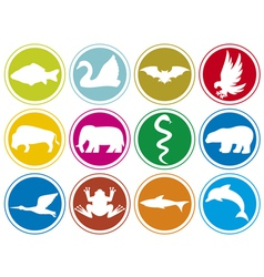 animals icons buttons-animal icons set vector image
