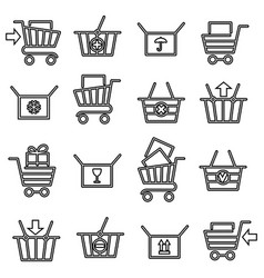 black thin line shopping cart icons vector image