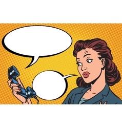 Female phone conversation communication vector image
