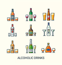 flat line alcoholic drinks icons vector image