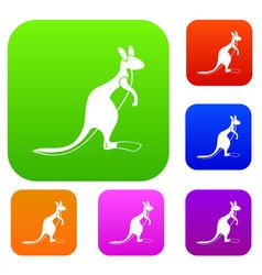 kangaroo set color collection vector image