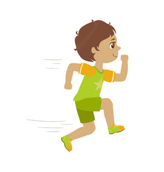 little boy running in a green shirt and shorts vector image