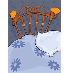 Old bed and pillow vector image vector image