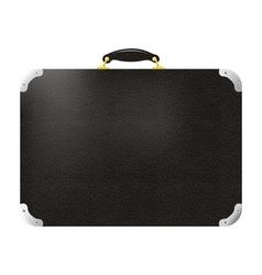 Old black leather travel bag vector image