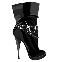 shining black boots with heels vector image vector image