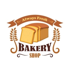 Bakery shop emblem with wheat bread brick vector image vector image