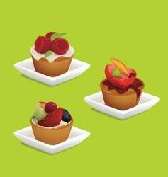 cakes with fruits vector image