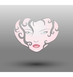 Curly Girl Face Heart vector image