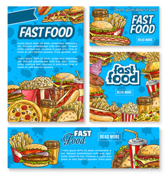 fast food poster with fastfood meal and drink vector image vector image
