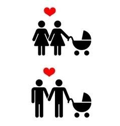 gay family with children icons over white vector image