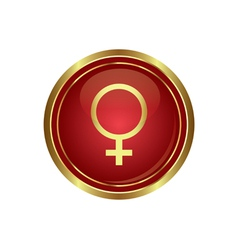 Golden round button with female symbol vector image