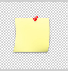 sticky paper reminder with red pin and shadow vector image