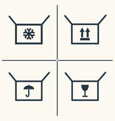 Boxes line icon set vector