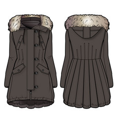front and back view of a brown winter coat vector image vector image