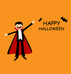 halloween card with friendly dracula in flat vector image