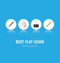 icon flat equipment set of paper clip nib pen vector image