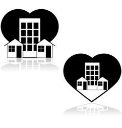 Love the neighborhood vector image