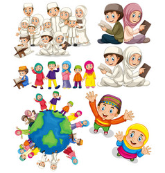 muslim families around the world vector image vector image