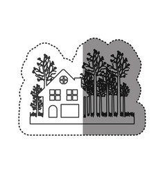 sticker of monochrome contour of cottage in the vector image