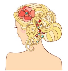 woman with a wedding hairstyle vector image vector image