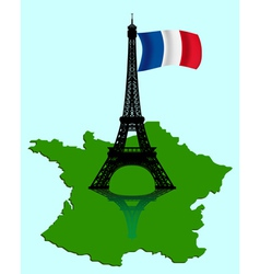 eiffel tower with map vector image