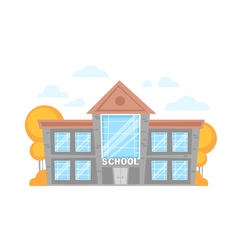 Flat cartoon school building vector image vector image