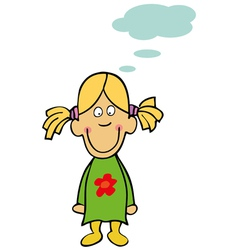 funny little girl with bubble speech vector image