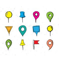 map pointers hand drawn sketch set navigation vector image