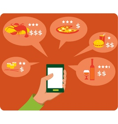 Mobile search for restaurants vector image vector image