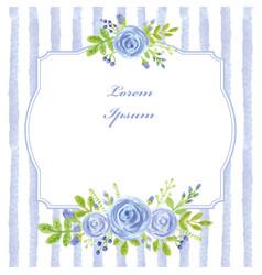 vintage cardwatercolor blue rosestripslabel vector image