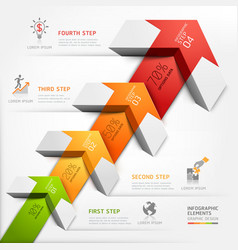 3d business arrow staircase diagram template vector