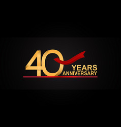 40 years anniversary design with red ribbon vector