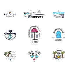 adventures begin on vacation banner templates vector image