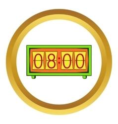 Analog flip clock icon cartoon style vector