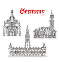 Architecture buildings of germany icons vector