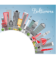 baltimore maryland usa city skyline with gray vector image