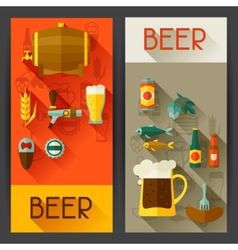 Banners with beer icons and objects in flat style vector image
