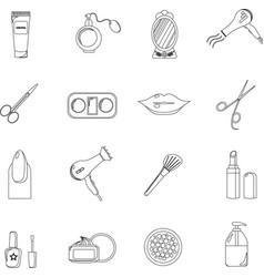 beauty salon set of black line icons new vector image