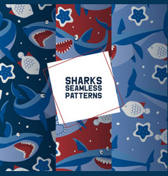 big sharks set seamless patterns vector image