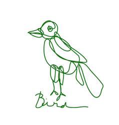 Bird logo line art drawing simple and minimalist vector