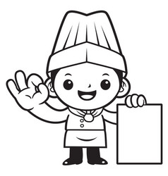 black and white funny chef mascot paper and okay vector image vector image