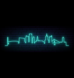 Blue neon skyline helsinki bright helsinki vector