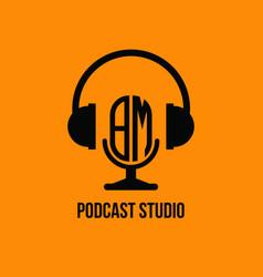 Bm monogram headphone and microphone style vector