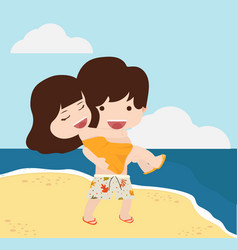 Boy and girl couple with summer beach vector