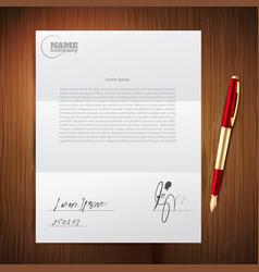 business pen paper set vector image
