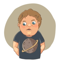 Cartoon boy ashamed in cute t-shirt vector
