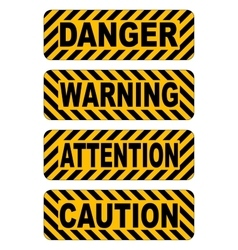 Caution warning attention danger text stickers vector
