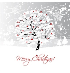 Christmas card design with winter tree and vector image